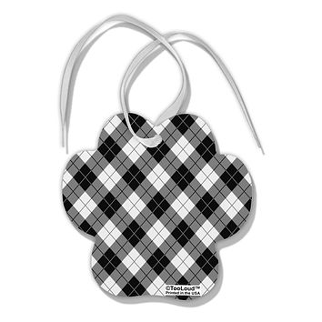 Black and White Argyle AOP Paw Print Shaped Ornament All Over Print by TooLoud