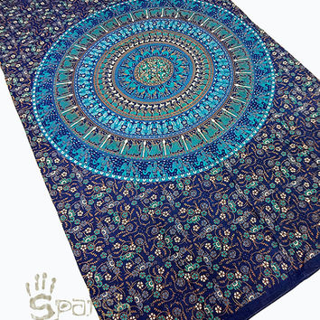 Tapestry, Mandala Blue Tapestries, Hippie Wall Hanging, Indian Block Print Bedspread Cover, Hippie Ethnic Coverlet, Twin Mandala Beach Throw