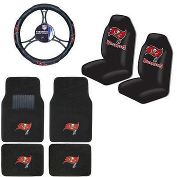 Licensed Official NFL Tampa Bay Buccaneers Car Truck Seat Covers Floor Mats Steering Wheel Cover