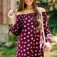 Hometown Honey Burgundy Print Off The Shoulder Dress