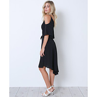 State Of Mind Wrap Dress - Black