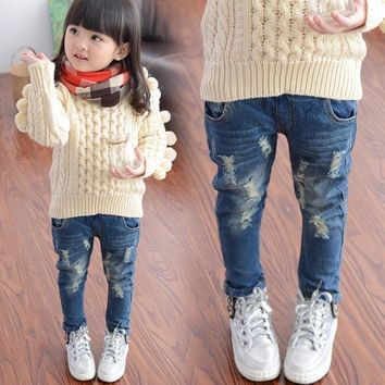 Casual Elastic Waist Ripped Jeans For Little Girl