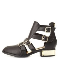 Dollhouse Belted & Gold-Plated Ankle Boots by Charlotte Russe - Black
