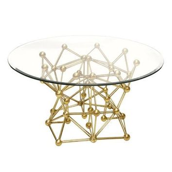 Worlds Away Molecule Gold Leaf Round Coffee Table