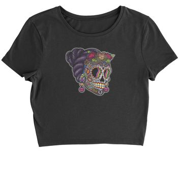 Skull With Hair Day Of The Dead Cropped T-Shirt