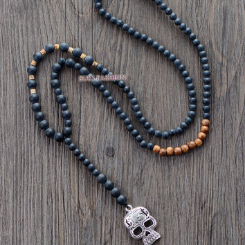 Men Gothic Necklace Matte Black Agate Wood Skull Pendant Mens Rosary Necklace Beaded Mens Steampunk Jewelry