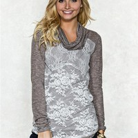 Lace Front Cowl Sweater