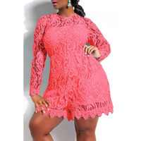 Round Neck Solid Color Lace Romper (Available in Plus Sizes)