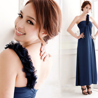 Elegant One Shoulder Flower Strap Long Dress