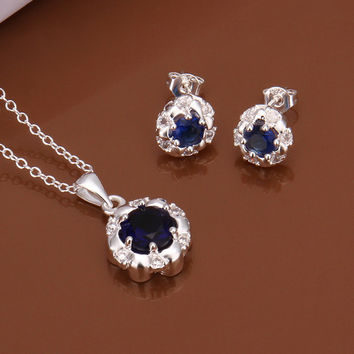 Royal Blue Flower Two-piece Sterling Silver Jewelry Set