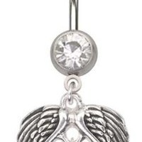 Cz clear Angel Angle Feather Wings Fly away dangle Belly navel Ring piercing bar body jewelry 14g