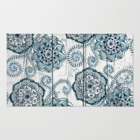 Navy Blue Floral Doodles on Wood Rug by Micklyn
