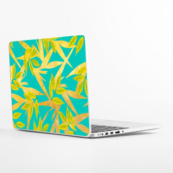 Gold and Teal Florals Laptop Skin