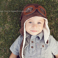 AVIATOR Pilot Hat w/ Faux Goggles Toddler by LeightonHeritage