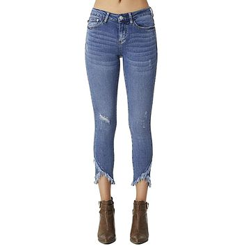 Judy Blue Women's Mid Rise Medium Wash Distressed Skinny Jeans with Frayed Tulip Hems