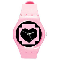 Pink and Black Medical Cross Heart Swatch like watch by Deathdoll Designs