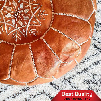 tan light brown pouf, Handmade Floor Cushion,  High-Quality Leather ,Moroccan Genuine Leather Ottoman Pouffe Pouf Footstool Hassouckn