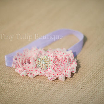 Baby Girl Headband...Purple Headband...Pink Polka Dot Baby Headband