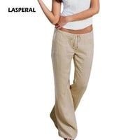 LASPERAL 2017 High Waist Flare Pants Plus Size 5XL Women Trousers Femme Casual Long Pants With Pockets Drawstring Soft Pantalone