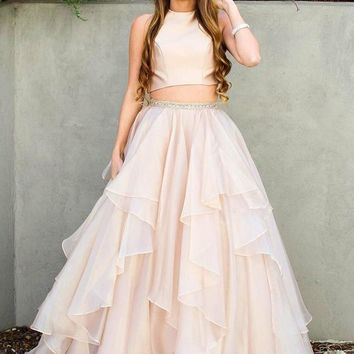 Evening Dresses Two Piece Prom Dresses Tulle Ruffles Dresses