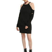 Black V Cutout Cold Shoulder Dress