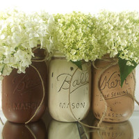 Hand Painted Mason Jar Decor | Three, Rustic - Style Painted Jars -- Brown and White Jars