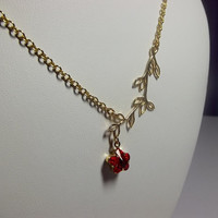 Swarovski Red Rose Flower Branch Necklace, Christmas Gift, Mother Grandmother Sister, Bridesmaid Gift, Gold Necklace, Romantic Modern