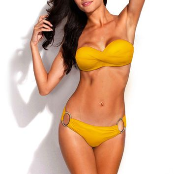 Metal Ring Design Push Up Bandeau Bikini Set