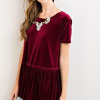 Knox Velvet Peplum Top - Burgundy