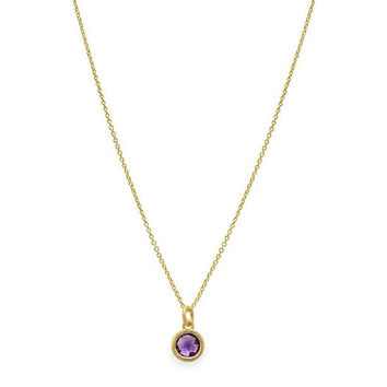 Amethyst Circle Drop Necklace
