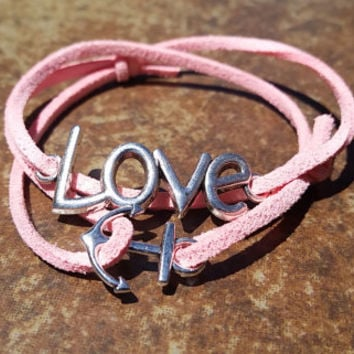 Pink Leather Silver Love Anchor Bracelet Anklet Charm Men Women Unisex Fashion New Love Cute Diy Friendship
