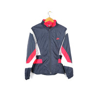 90s NIKE windbreaker jacket / vintage 1990s / retractible hood / retro gray & hot pink / athletic / hip hop / small
