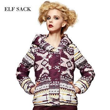 Elf SACK small painting winter female fashion loose wadded jacket vintage print with a hood cotton-padded jacket thick outerwear