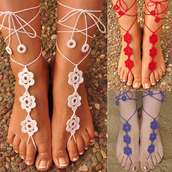 Crocheted Barefoot Sandals Yoga Anklet Wedding Anklet Women jewelry