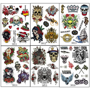 6pcs/lot temporary tattoo body art multi-style death skull with rose flowers unique rock design sheets on sleeve arm tattoos 301