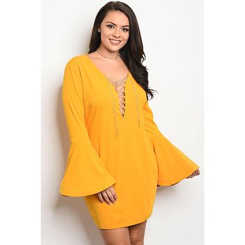 Bell Sleeve Chain Lace Up Yellow Dress
