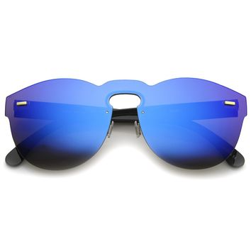 Futuristic Rimless Mono Flat Lens Horn Rimmed Shield Sunglasses 73mm