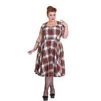 Hell Bunny Vintage Inspired London Love Stewart Tartan Flare Dress