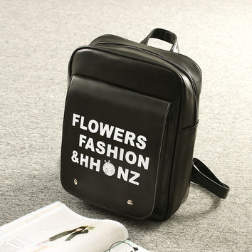 Letters Print Black Leather Vintage Style Backpack
