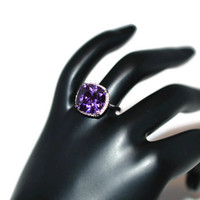 Size 8 Amethyst Sterling Silver Ring Rhodium Plated - Amethyst Silver Ring - February Birthstone Ring - Gemstone Cocktail Ring - Purple Ring