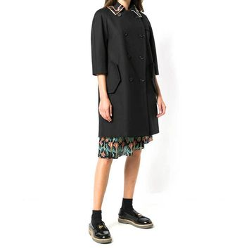 No. 21 Black Stretch Cotton Trench with Pins and Crystal Trim