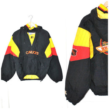 80s CANUCKS starter jacket vintage 1980s VANCOUVER canucks hockey WINDBREAKER pull over athletic hoodie medium os