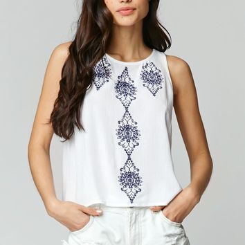 LA Hearts Embroidered Open Back Tank