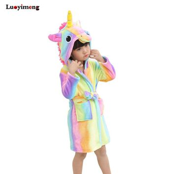 Children Towel Beach Baby Bath Robe Animal Rainbow Unicorn Hooded Bathrobes For Boys Girls Pyjamas Nightgown Kids Sleepwear Robe