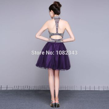 Short Prom Dresses Beaded Sexy High Neck Sleeveless Backless Evening Dress Prom Party Gowns