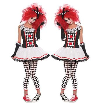Adult Harley Quinn Costume Halloween Cosplay Harlequin Clown Circus Dress Performance Clothing Party for Female Ghosts Cosplay
