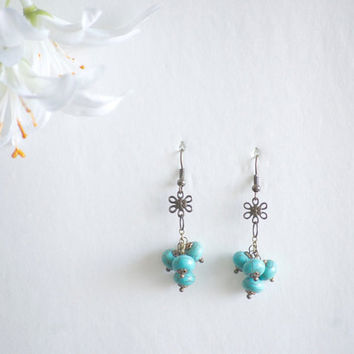Boho Earrings - Turquoise Earrings - Boho Wedding - Summer Earrings - Flower Earrings - Boho Jewelry - Outdoor Wedding - Summer Wedding