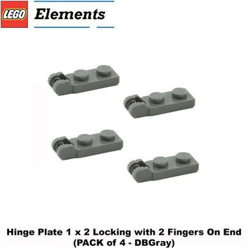 Lego Parts: Hinge Plate 1 x 2 Locking with 2 Fingers On End (PACK of 4 - DBGray)