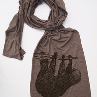 Tree SLOTH Jersey Tri-Blend Extra Long Wrap Scarf