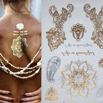 Fashion Temporary Metallic Tattoo Gold Silver Jewelry Stickers Flash tattoos Inpired  Jewlery = 5660932417